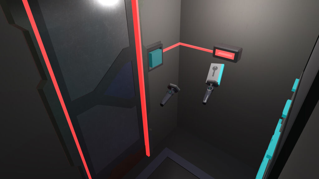 Picture of Unseen Diplomacy 1, with a keycard being put into a reader and a red wire coming from that to a door.